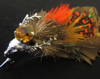 Vintage Scottish Stag Head Brooch / Pin