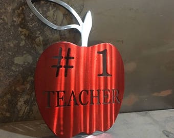 Teacher Gift #1 Teacher metal apple sign