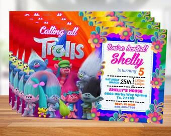 Trolls Birthday Invitation, Trolls invitation, Trolls Digital Invitation, Trolls Party, TTrolls Poppy party , Trolls, Instant Download!