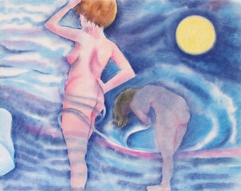 Bathing on a Moonlit Night Notecard