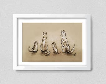 One Cat, Three Dogs from Behind - Print