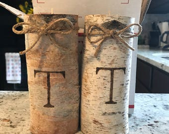 "Birch Engraved Candles (TALL 7"" candles)- perfect for wedding gifts, favors, centerpieces, and more!"