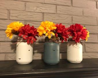 Set of painted jars