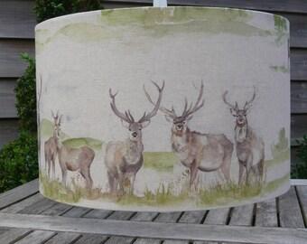 Moorland stag drum lamp shades in 20cm, 30cm & 40cm diameter