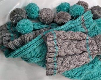 Child poncho wool poncho, poncho is hand knitted poncho, turquoise poncho, poncho and hat, wool hat.