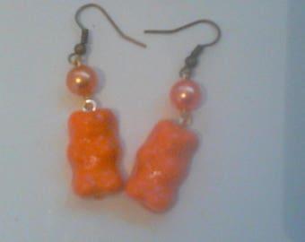 bear earrings orange
