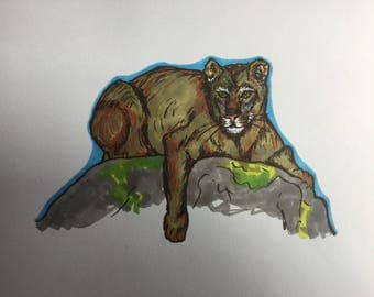 "Original ""Mountain lion"" A4 pen drawing."
