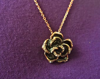 Rose necklace/ rose gold plated/ white crystals/ black enamel/ flower