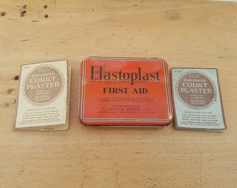 Vintage Elastoplast tin, 1930s, medical, pharmacy, collectable