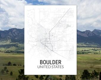 Boulder Colorado USA Map Print