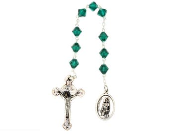 St. Peregrine Chaplet Emerald Green Swarovski Crystal Elements - May (Patron Saint of Cancer Patients)