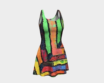 Abstract Colorful Flare Dress