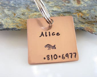 Pet ID Tag, Hand Stamped, Copper - I am not SQUARE - Custom Square Copper Pet Tag - One Inch Dog or Cat - Hand Stamped - Kids School Bag Tag