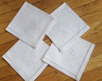 4 Embroidered Vintage White Linen Napkins