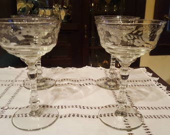 Rock Sharpe Crystal Coups Set of 4, 1940s