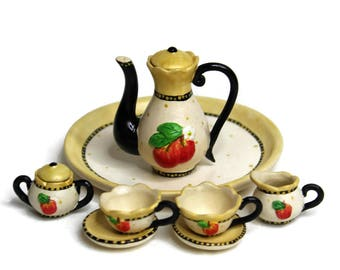 Dollhouse Miniature Matte Porcelain, Hand-Painted Tea Set, Miniature Fairy Garden Accessories, DIY Charm Pendant, Jewelry-Making Supplies.