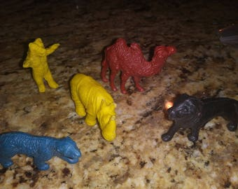Vintage 1970s plastic animals
