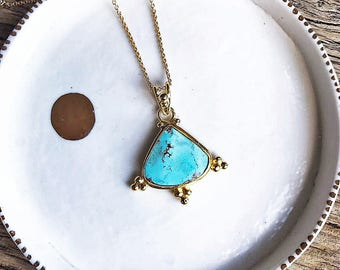 Yellow Gold Turquoise Necklace, Turquoise Necklace, Yellow Gold Plated Pure Silver with Natural Persian Turquoise, December Birthstone