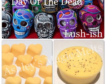 Day of the dead lush wax melts, perfume dupe wax melts, designer dupe wax soy wax melts, cheap wax, strong wax, scented gifts, melt tarts