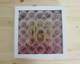 Monogrammed Paper Rose Shadow Box Wall Hanging
