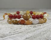 Sunstone, Carnelian, White & Yellow Jade and Agate Double Stack Bracelets