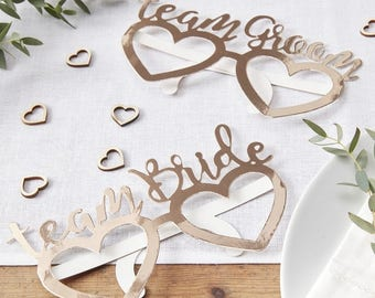 Rose Gold Foiled Team Bride & Team Groom Fun Glasses, Wedding Photo Booth Props, Wedding Pictures, Wedding Photo Props
