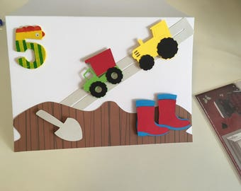 Boy birthday card tractor mud