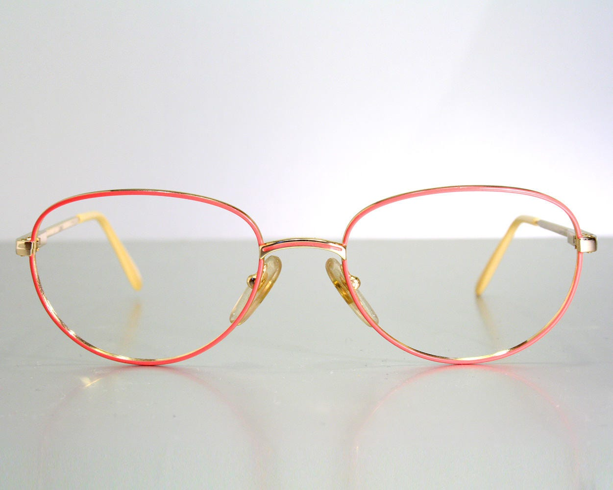 765c296f90 Vintage L AMY France Pink on Gold 1980 s Women s Cute Eighties Size M Eyeglass  Frames