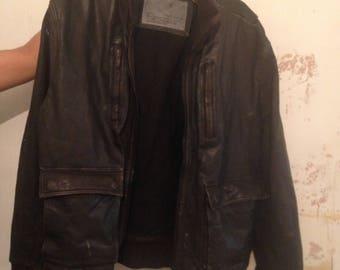 Vintage Leather Men's Leather Bomber Jacket