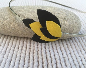 Headband yellow and black leather genuine by lesbijouxdelilie