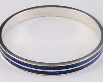 Modern Mexican Lapis Lazuli & Sterling Silver Bracelet/Bangle