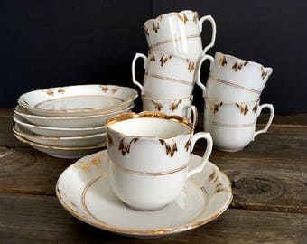 Antique 1800s coffee cups, French porcelain coffee service, Paris porcelain, set of six cups and saucers, handpainted white and gold,