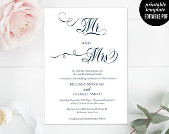 Navy Wedding Invitation Template, Printable Mr and Mrs Wedding Invitation, Modern Wedding, Calligraphy Wedding, Classic, Download PDF