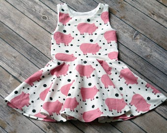 Pig Dress. Piggie Dress. Baby Dress. Toddler Dress. Little Girl Dress. Twirl Dress. Twirly Dress. Comfy Dress. Play Dress. Farm Dress.