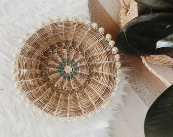 VINTAGE cowrie shell basket | woven cowrie shell basket | vintage woven basket | vintage wall basket | catch all basket | boho basket