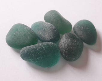 6 shades of teal sea glass / sea glass french