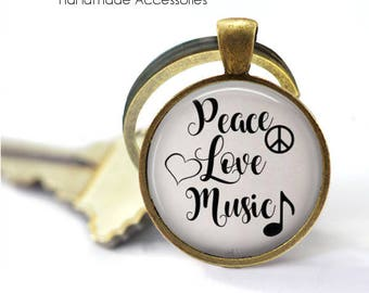 Peace Love Music Key Ring • Music Quote • Music Lover • Musician • Music Teacher • Music Student • Gift Under 20 • Made in Australia (K370)