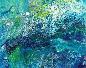 Abstract schilderij, acryl op canvas, blauw schilderij, kunst aan de muur, klein schilderij, fluid painting, turquoise schilderij