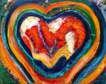 Abstract olieverf schilderij, abstracte kunst, abstract schilderij, olieverf op canvas, schilderij met hart, canvas schilderij