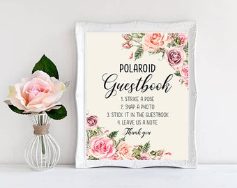Polaroid Guestbook Wedding Sign Digital Floral Blush Pink Peach Wedding Boho Printable Bridal Decor Gifts Poster Sign 5x7 and 8x10 - WS-032