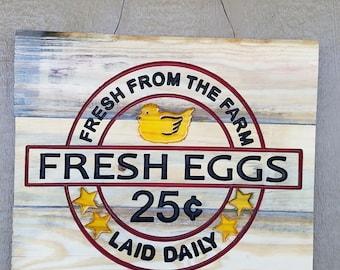 Fresh Eggs Wood Sign, Farmhouse, Rustic