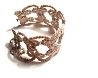 Beige tatting crochet bracelet charm beautiful bracelet cotton bracelet  lace fiber bracelet bangle for woman gift braided bracelet fabric
