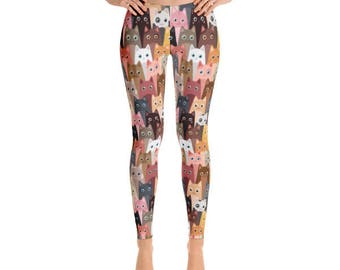 Crazy Cat Leggings / Kitten Leggings - Womens Leggings - Fancee Pants Co
