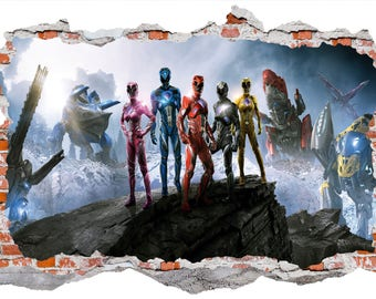 Power Rangers Smashed Wall Sticker, Wall Decals
