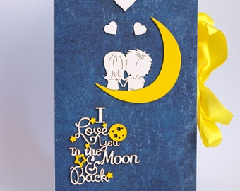 I Love You to the Moon and Back Gift box Handmade card box book