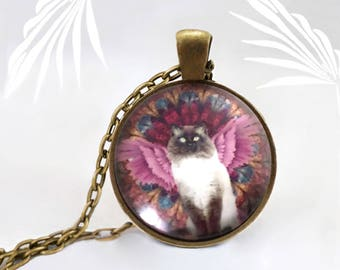 Medallion cat Siamese Angel on necklace pendant handmade, animal necklace