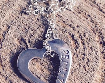 Silver date heart
