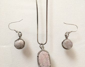 Pink Crystal Necklace & Earring Set