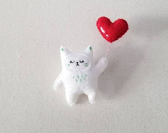 Cat With Heart Balloon Brooch