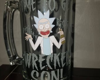 Rick and Morty getting wrecked beer mug!!!
